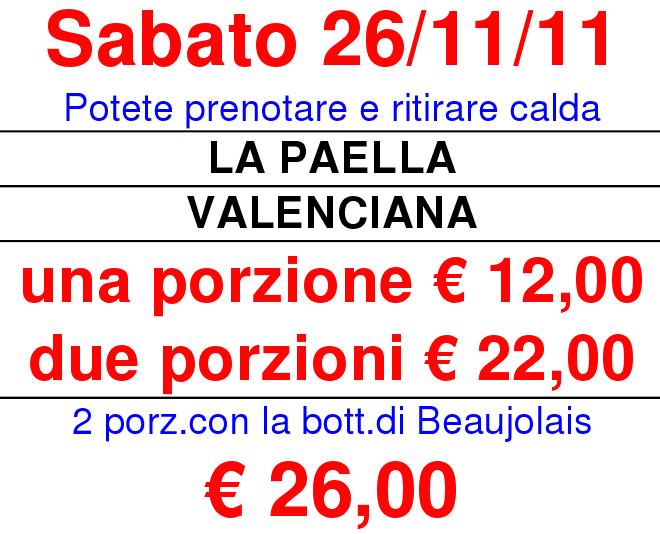 La Paella Valenciana e vino Beaujolais
