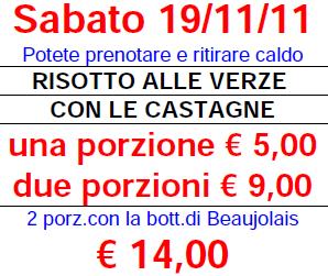 Risotto verze e castagne e vino Beaujolais – Sabato 19/11/2011