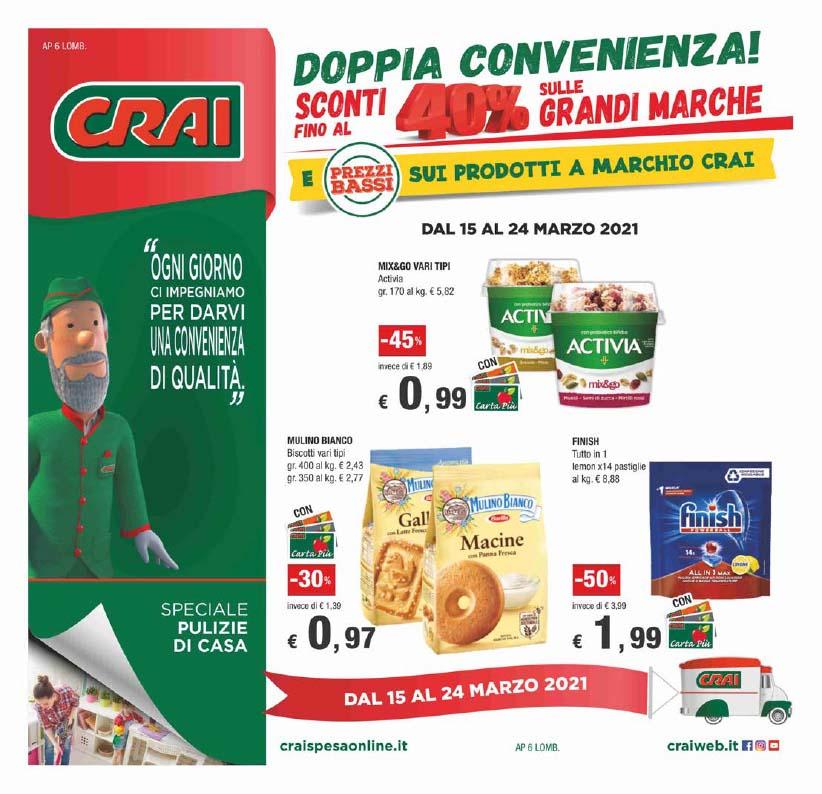 Dal 15 al 25 marzo doppia convenienza da CRAI!
